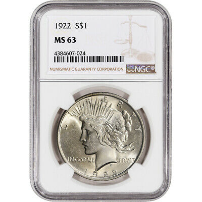 1922 US Peace Silver Dollar 1 - NGC MS63