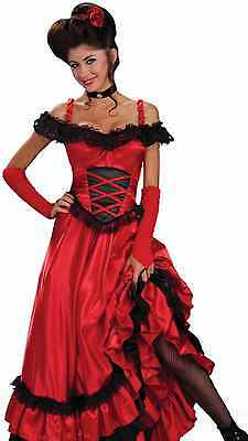 Saloon Girl Costume Dress Sexy Womens Red Western Can Can Burlesque Westworld