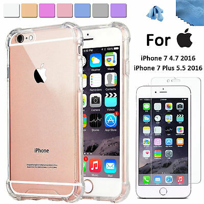 EEEKit Clear TPU Back Case-Tempered Glass Screen Protector for iPhone 77 Plus