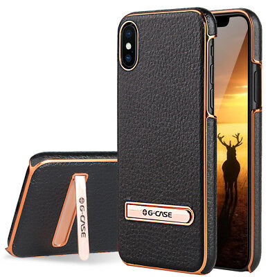 For Apple iPhone X87 Plus Leather Slim Hybrid Hard Case Cover Metal Kickstand