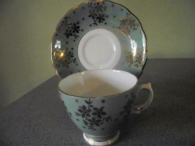 Colclough Lime Green Gold Leaf Teacup and Saucer