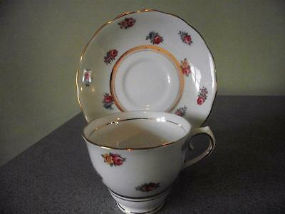 Colclough Green with Small Roses Teacup and Saucer