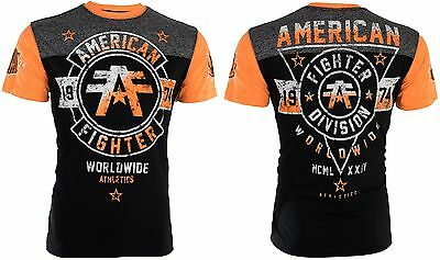 AMERICAN FIGHTER Mens T-Shirt SILVER LAKE Athletic BLACK Biker Gym MMA UFC 40