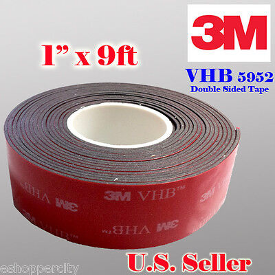 3M 1 x 9 ft  VHB Double Sided Foam Adhesive Tape 5952 Automotive Mounting 25mm