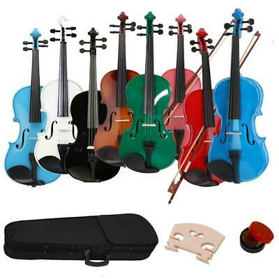 New 8 Colors 44 Full Size Basswood Acoustic Violin  w Case Rosin Bow Bridge