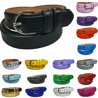 Womens Leather Casual Dress Plain Solid Colors Belt Silver Buckle Ladies New
