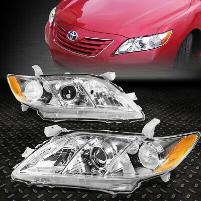 FOR 2007-2009 TOYOTA CAMRY CHROME HOUSING AMBER CORNER PROJECTOR HEADLIGHTLAMP