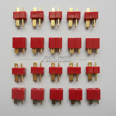 10 Pairs T Plug Male - Female Connectors Deans Style For RC LiPo Battery M411