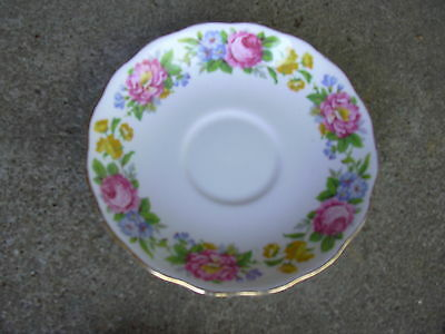 Colclough Bone China Saucer  Multi Color Flowers   Made in England