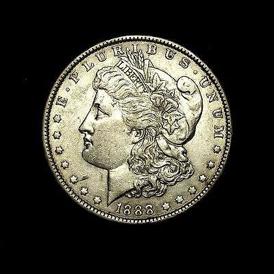 1888 P ABOUT UNCIRCULATED AU Silver Morgan Dollar Rare US Old Coin 15F