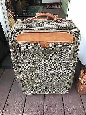 HARTMANN CARRY-ON Tweed LEATHER TRIM ROLLING WHEELED SUITCASE BAG LUGGAGE 22