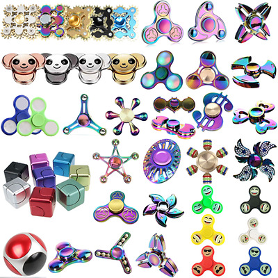 Fidget Hand Finger Spinner Tri Spin Rainbow EDC Metal ADHD Bearing Stress Toy US