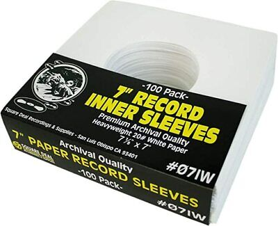 100 7 Record Inner Sleeves - White ARCHIVAL Paper ACID FREE 45rpm - 07IW