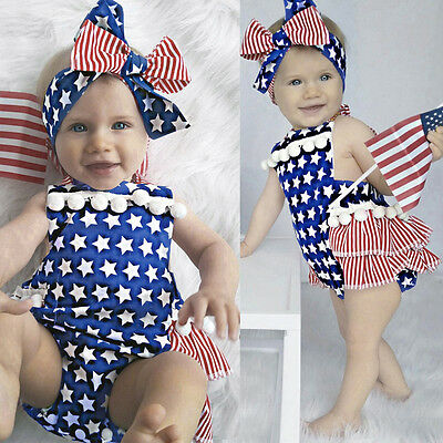 Newborn Baby Girl 4th Of July Star Stripe Flag Clothes Romper Jumpsuit Outfits