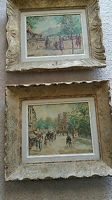 2 VINTAGE CIRCA 1940 FRENCH PAINTING BY MORRIS EATON OIL ON CANVAS BOARD