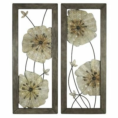 Aspire Home Accents 5144 Gray Marla Flower Wall Decor Set of 2