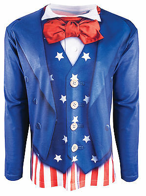 Adult Fourth of July Patriotic Printed T-shirt Uncle Sam Costume