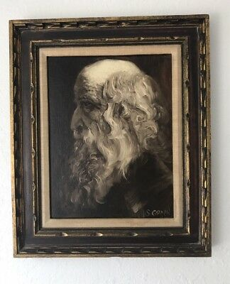 Vintage Oil Portrait Painting Of An Old Man Mid Century Signed Framed Board