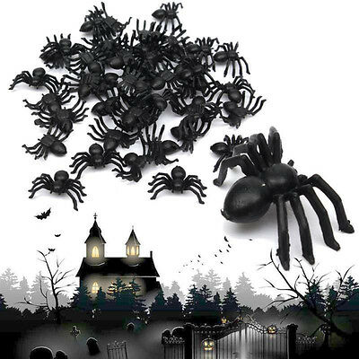 50X PLASTIC BLACK SPIDER TRICK TOY PARTY HALLOWEEN HAUNTED HOUSE PROP DECOR DIY