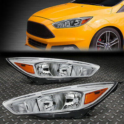 FOR 2015-2018 FORD FOCUS GEN3 PAIR CHROME HOUSING AMBER SIDE HEADLIGHTLAMP SET