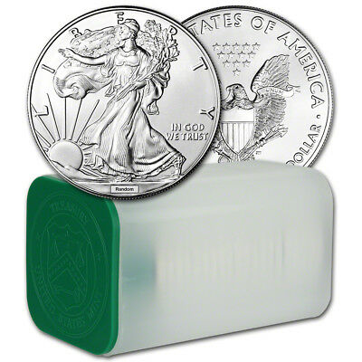 Random Date American Silver Eagle 1 oz 1 - 1 Roll of 20 BU Coins in Mint Tube