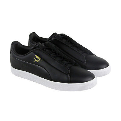 Puma Clyde Fashion Mens Black Leather Lace Up Sneakers Shoes
