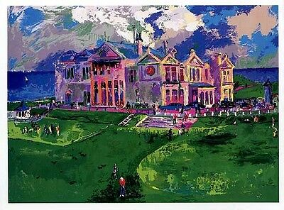 LeRoy Neiman HAND SIGNED Serigraph CLUBHOUSE AT OLD St- ANDREWS silkscreen golf