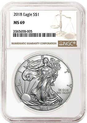 2018 1oz Silver American Eagle NGC MS69 Brown Label Presale