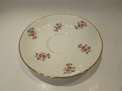 ROYAL GRAFTON ENGLAND BONE CHINA TEASAUCER FLUTED GOLD RIM PINK ROSE BLUE FLORAL