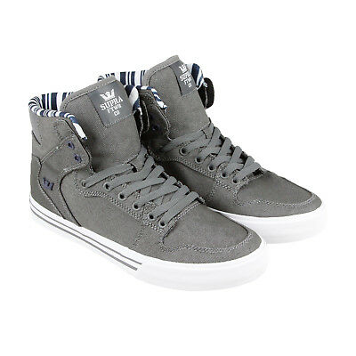 Supra Vaider Mens Gray Canvas High Top Lace Up Sneakers Shoes