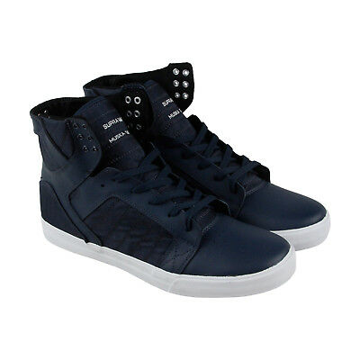 Supra Skytop Mens Blue Leather - Textile High Top Lace Up Sneakers Shoes