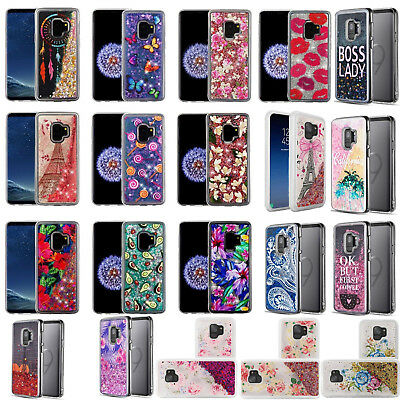 For Samsung Galaxy S9 S9 PLUS Liquid Glitter Quicksand Case Phone Cover