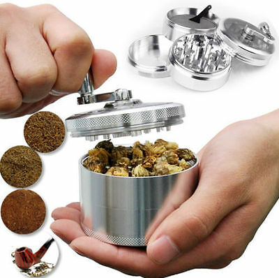 Herb Grinder Crusher for Tobacco 4 Piece 2 Zinc Hand Muller Spice Silver 4pc