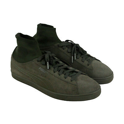 Puma Classic Sock Mens Green Suede Lace Up Sneakers Shoes