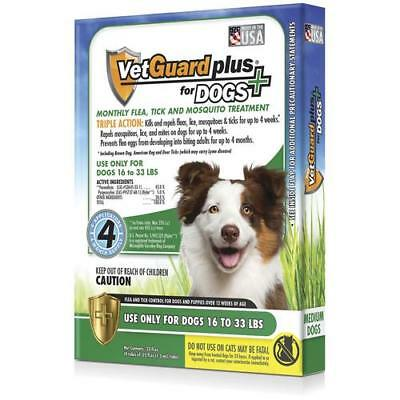 NEW VetGuard Plus® Flea Tick - Mosquito Treatments for Dogs 16-33lbs Vet Guard