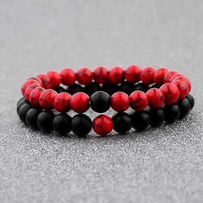 Couple His - Hers Distance Healing Bracelet Black Red Lava Bead Matching YinYang