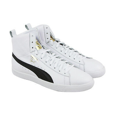 Puma Clyde Mid Core Foil Mens White Leather Lace Up Sneakers Shoes