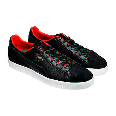 Puma Clyde Gcc Mens Black Leather Lace Up Sneakers Shoes