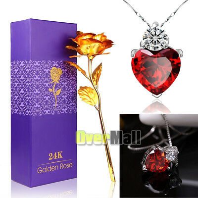 24K Gold Rose Dipped Foil Plated -18 925 Red Crystal Necklace Mothers Day Gift