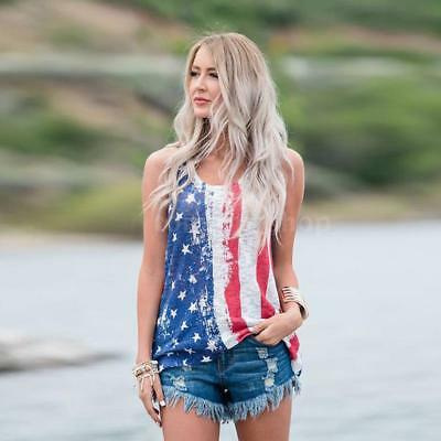 Sexy American Flag Womens Crop Top 4th Of July USA Pride Ladies Tank Tops N3B3