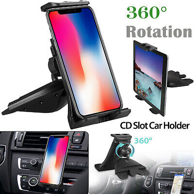 360° Universal CD Slot Car Mount Holder Stand for Cell Phone - 4-12 Tablets Pad