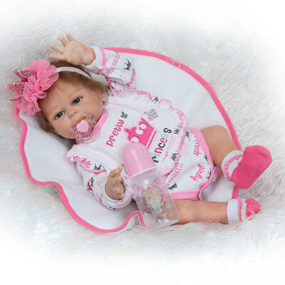 19 Girl Lifelike Reborn Baby Doll Washable Full Body Silicone Vinyl Dolls Gift
