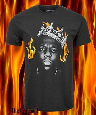 New Notorious B-I-G Biggie Smalls King Flames Mens Vintage T-Shirt