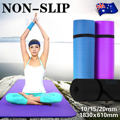 101520MM Thick Yoga Mat Pad NBR Nonslip Exercise Fitness Pilate Gym Durable AU