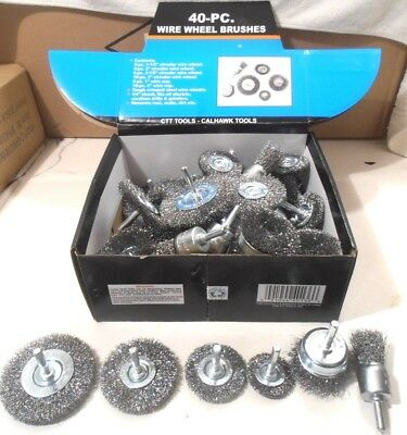 40 pc Wire Wheel Brush Cup Assortment Crimped Steel 14 Shank Drill Rust Scale
