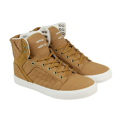 Supra Skytop Mens Tan Textile High Top Lace Up Sneakers Shoes