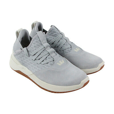 Supra Titanium Mens Gray suede - Mesh Athletic Lace Up Running Shoes