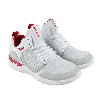 Supra Method Mens White Suede - Textile Athletic Lace Up Training Shoes