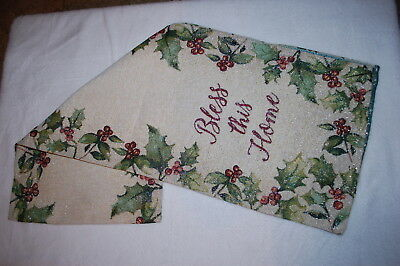 Thanksgiving Christmas TAPESTRY TABLE RUNNER Beige BLESS THIS HOME Holly Berries