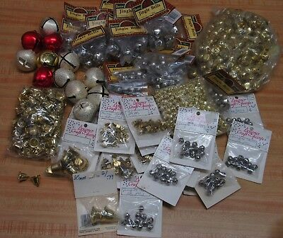 Lot of Assorted Sizes Gold - Silver Metal Jingle Bells Christmas Craft Supplies